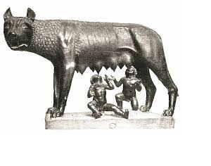 la 'madre' Lupa che allatta i 'figli' Romolo e Remo